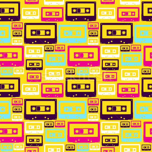 Retro pop audio pattern cassette Foto d'archivio © cienpies