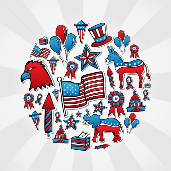 Stock fotó: USA · választások · rajz · stílus · ikonok · kézzel · rajzolt