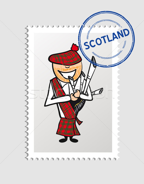 Schotland cartoon persoon reizen stempel man Stockfoto © cienpies