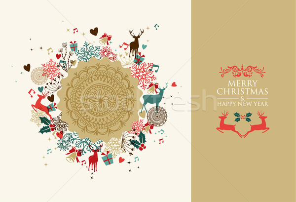 Merry Christmas vintage circle composition  Stock photo © cienpies