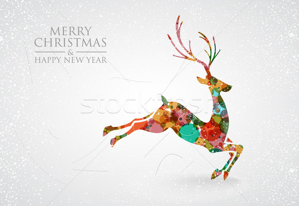 Merry Christmas colorful reindeer greeting card Stock photo © cienpies