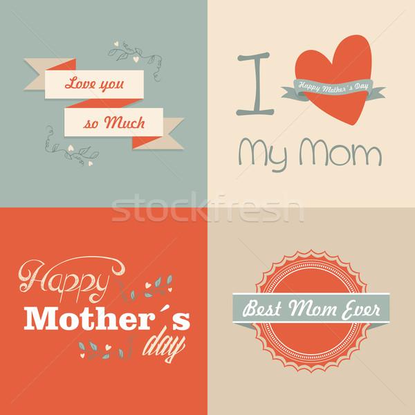 ストックフォト: レトロな · 幸せな母の日 · セット · カード · ヴィンテージ · タイプ