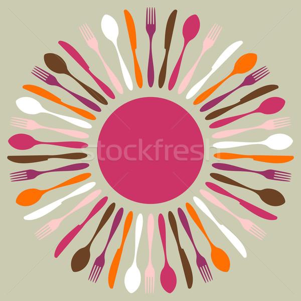 Stok fotoğraf: Renkli · çatal · bıçak · takımı · restoran · mandala · simgeler · çatal