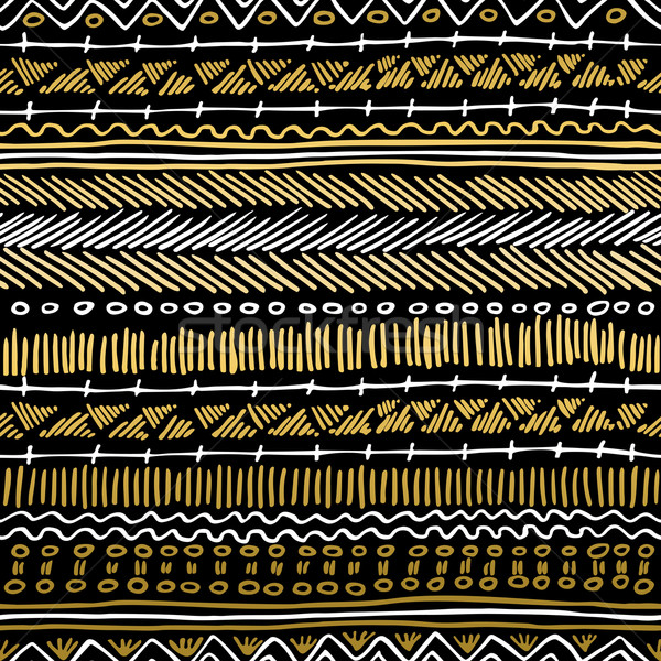 Gold boho seamless pattern retro tribal background Stock photo © cienpies