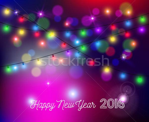 Happy new year 2016 bokeh lights blur holiday card Stock photo © cienpies