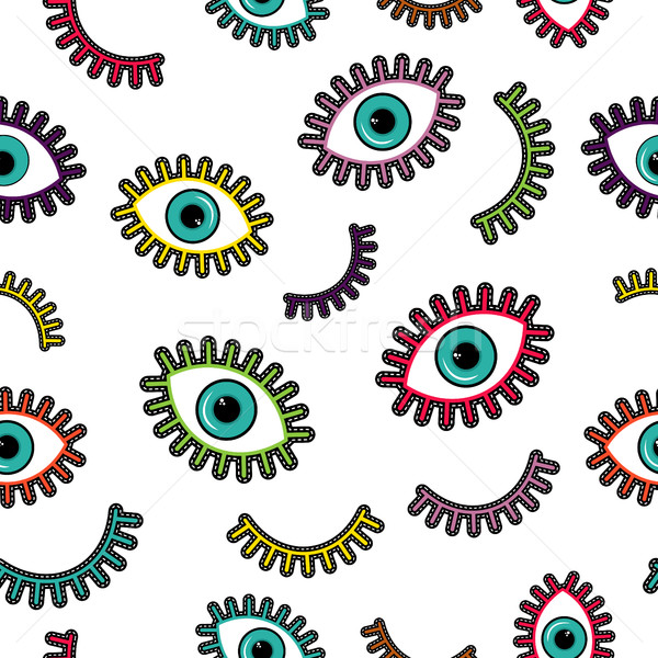Colorful stitch patch eye icons seamless pattern  Stock photo © cienpies