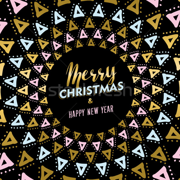 Christmas and new year gold mandala card design Stock photo © cienpies