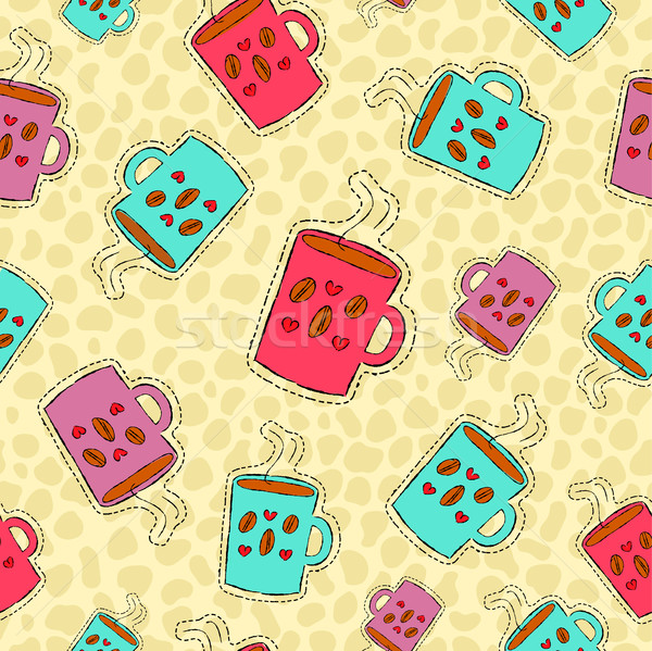 Coffee drink hand drawn patch icon background Stock photo © cienpies
