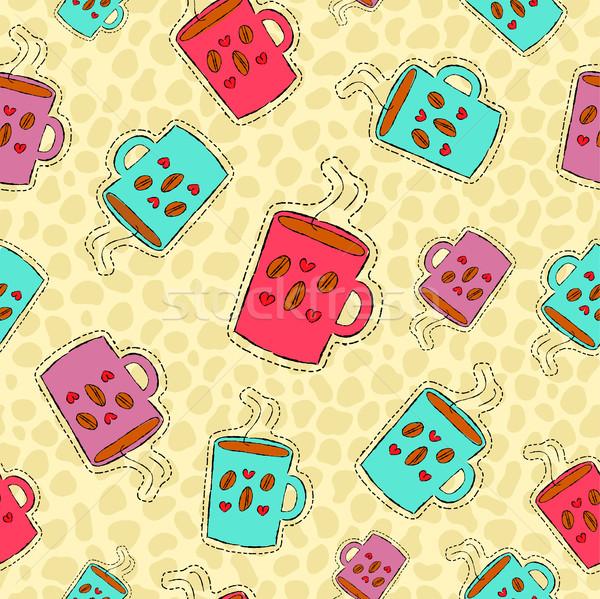 Koffie drinken icon cafeïne Stockfoto © cienpies