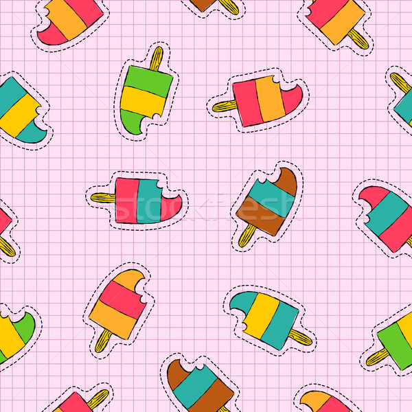 Ice cream popsicle patch icon seamless pattern Stock photo © cienpies