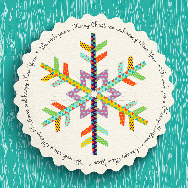 Merry Christmas and new year fun snowflake design Stock photo © cienpies
