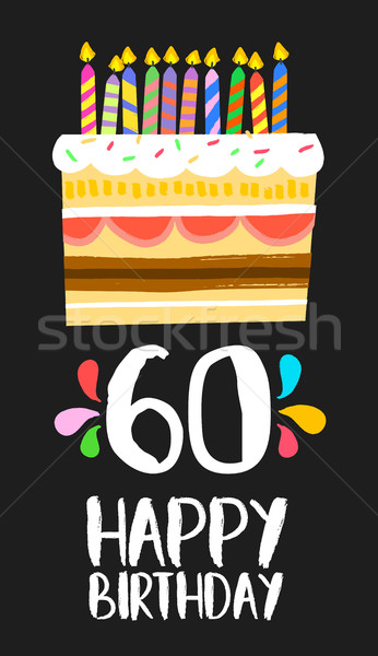 Happy Birthday card 60 sixty year cake Stock photo © cienpies