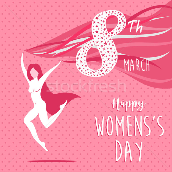 Happy international womens day celebration girl  Stock photo © cienpies