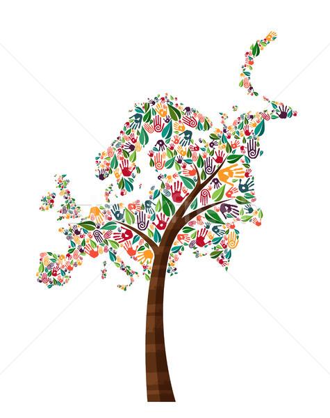 Europe hand print tree symbol for world help Stock photo © cienpies