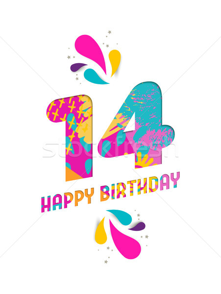 Happy birthday 14 year paper cut greeting card Stock photo © cienpies