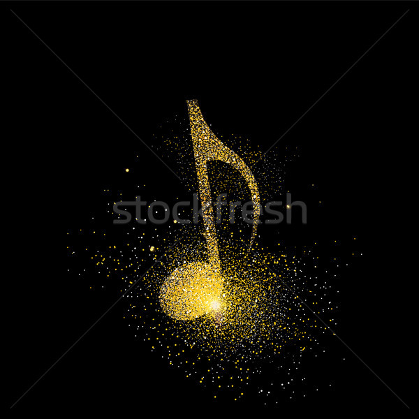 Music note gold glitter art concept symbol  Stock photo © cienpies