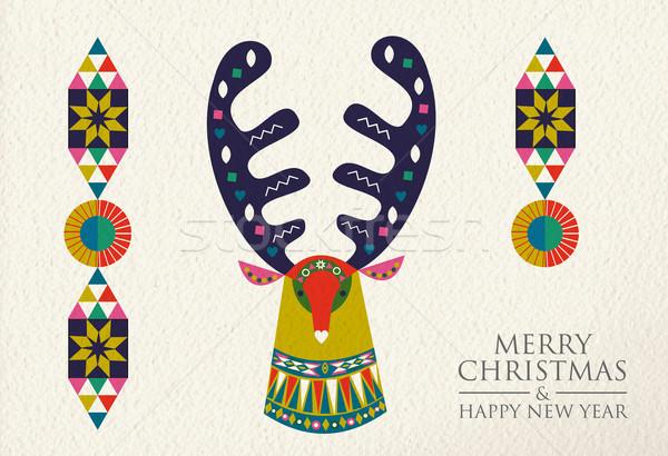 Christmas and New Year folk art deer greeting card Stock photo © cienpies