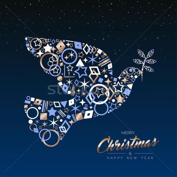 Christmas nowy rok karty miedź pokoju dove Zdjęcia stock © cienpies