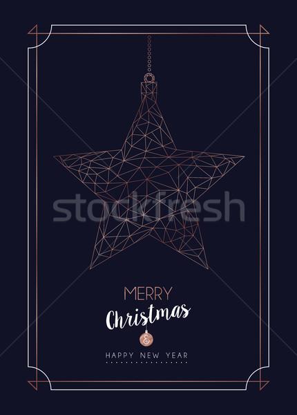 Navidad año nuevo cobre estrellas chuchería tarjeta Foto stock © cienpies