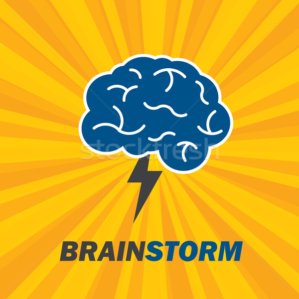 Brainstorm idea creative brain and lightning. Stock photo © cifotart