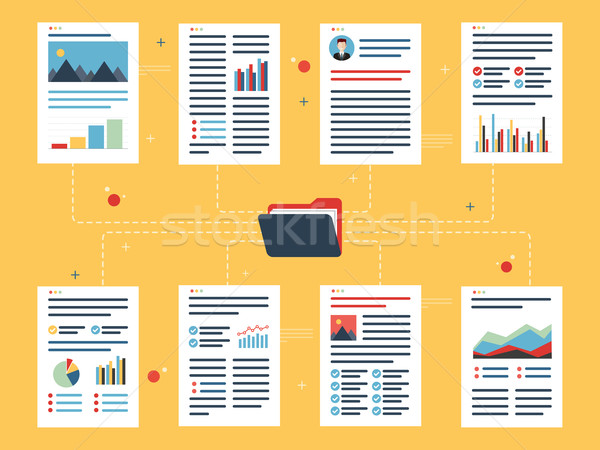 Documents with data, charts and folder. Stock photo © cifotart