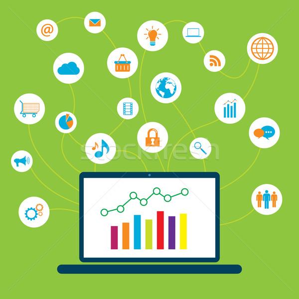 Technologii komunikacji social media graficzne wzrostu Internetu Zdjęcia stock © cifotart