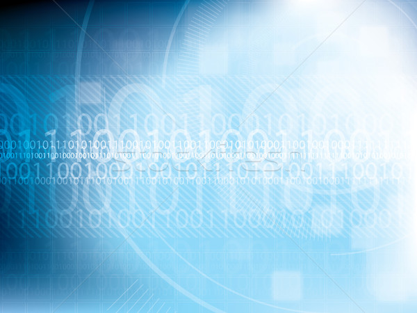 Technology background blue futuristic abstract with bright lights and binary code Stock photo © cifotart