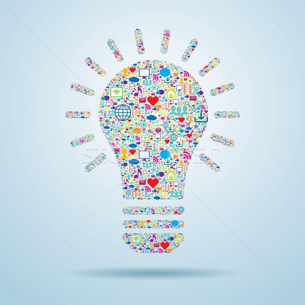 Stock photo: Light bulb with social media icons.