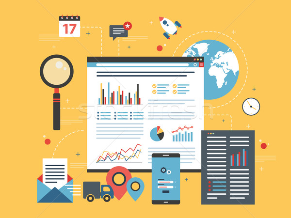 Business data and charts in the internet shop. Stock photo © cifotart