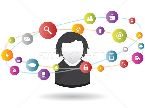 Social media internet business veiligheid Stockfoto © cifotart