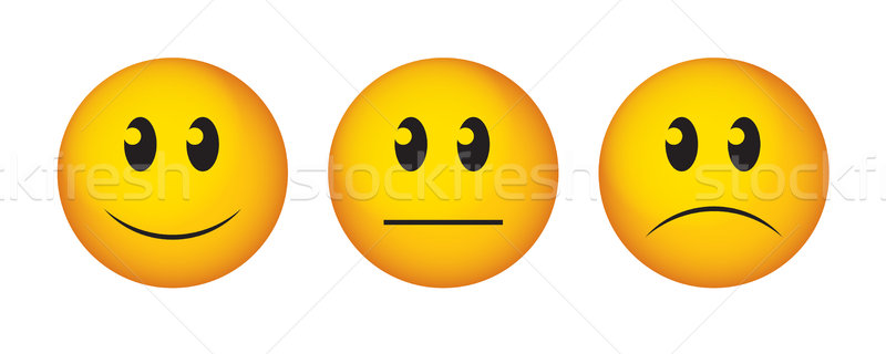 Happy, straight face and sad emoticon.  Stock photo © cifotart