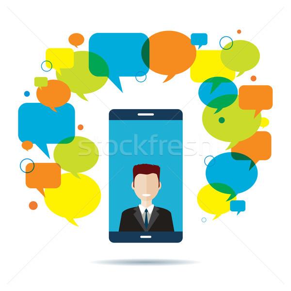 通信 ビジネス スマートフォン ビジネスマン ビデオ 会議 ストックフォト © cifotart
