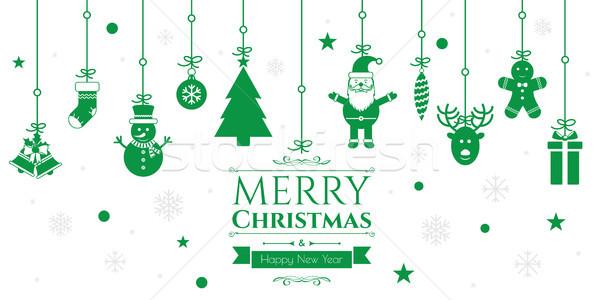 набор Рождества иконки зеленый интернет баннер Сток-фото © cifotart