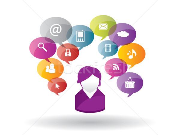 Medios de comunicación social Internet negocios red social seguridad Foto stock © cifotart