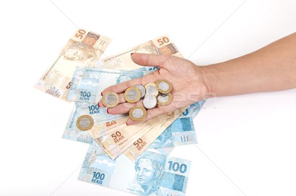 Strony ceny monety biały kobiet Zdjęcia stock © cifotart