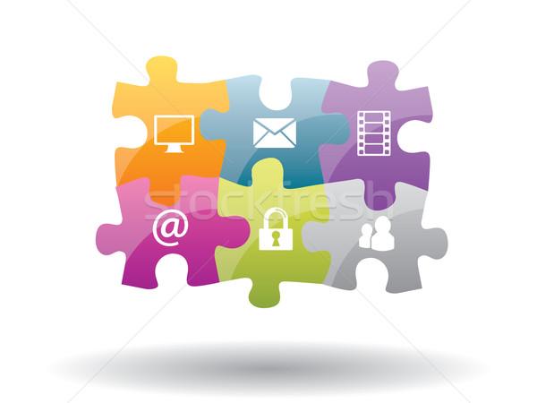 Puzzel integratie internet veiligheid communicatie abstract Stockfoto © cifotart