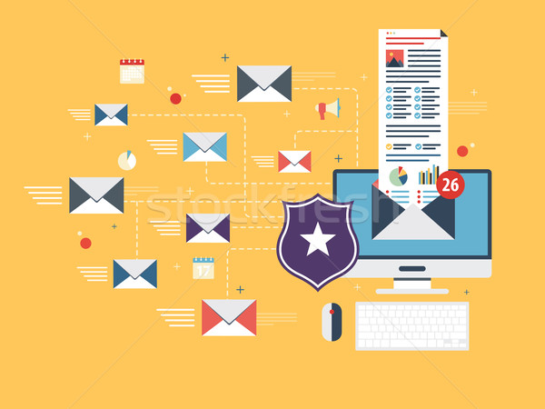 Email protection and secure communication on internet. Spam blocker.  Stock photo © cifotart