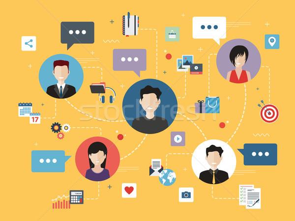 Gente de negocios trabajo iconos negocios mensajes comercialización Foto stock © cifotart