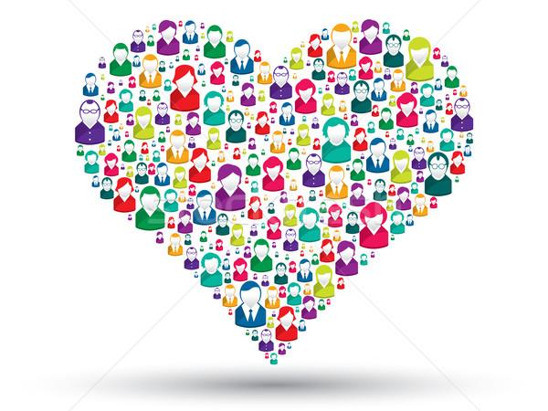 Społecznej serca miłości ikona pośpieszny ludzi Zdjęcia stock © cifotart