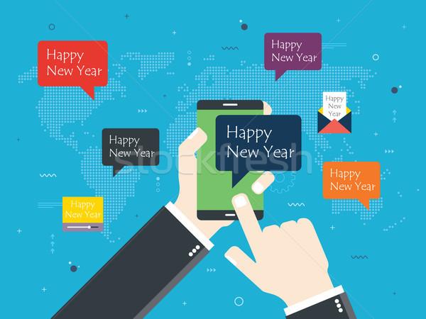 Smartphone szczęśliwego nowego roku wiadomość strony Pokaż Zdjęcia stock © cifotart