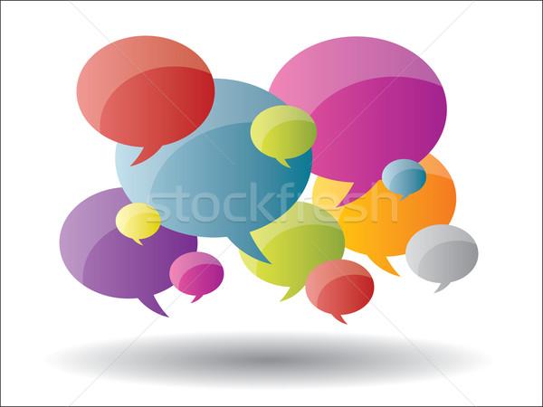 Myśl pęcherzyki komunikacji informacji Bańka Zdjęcia stock © cifotart