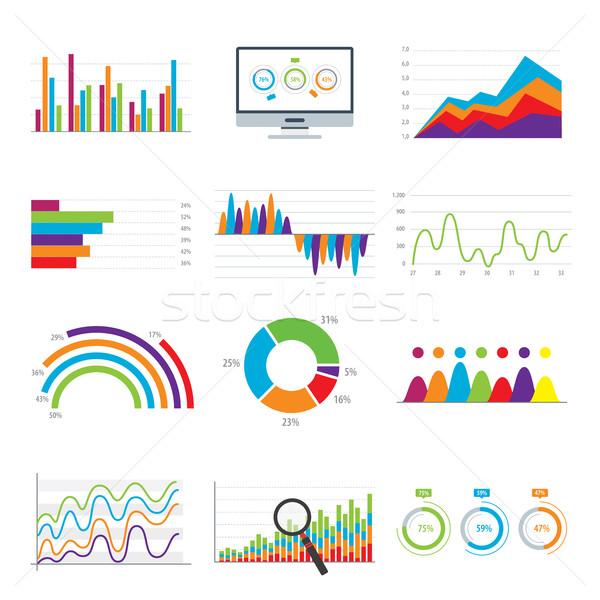 Affaires données marché graphiques diagrammes graphiques Photo stock © cifotart