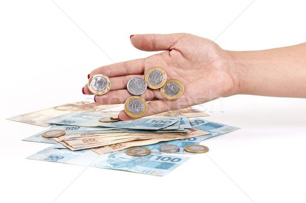 стороны деньги монеты белый женщины Сток-фото © cifotart