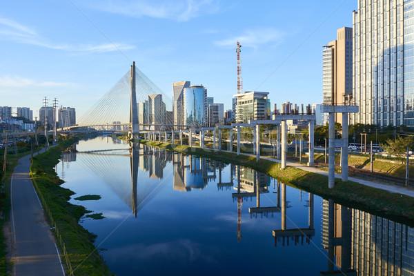 Sao Paulo híd Brazília épület város kék Stock fotó © cifotart