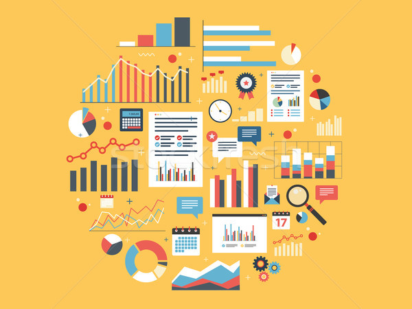 Analytics round illustration with charts. Stock photo © cifotart