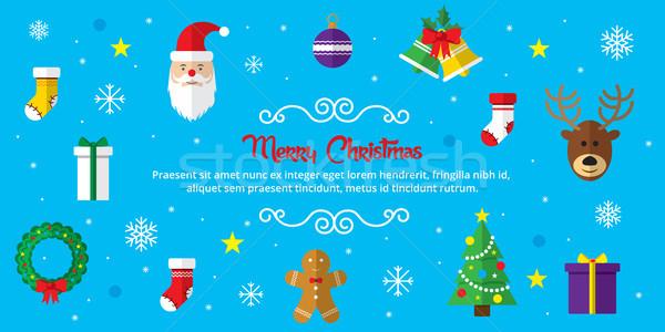 Alegre Navidad establecer iconos icono Foto stock © cifotart