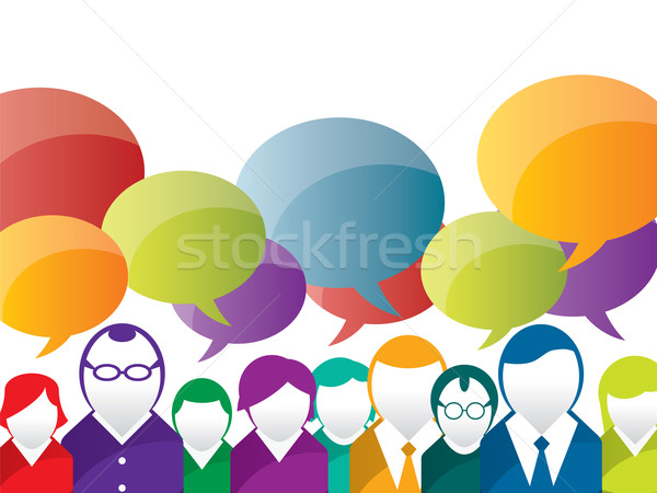 Photo stock: Affaires · communication · discussion · personnes · résumé · foule