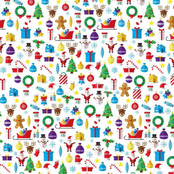 Año nuevo iconos símbolos estilo arte Foto stock © cifotart