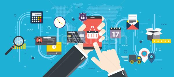 Zakup smartphone ręce zakupy online Zdjęcia stock © cifotart