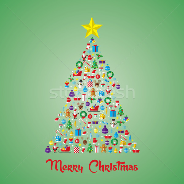 Christmas pine tree composed of new year icons and symbols. Stock photo © cifotart
